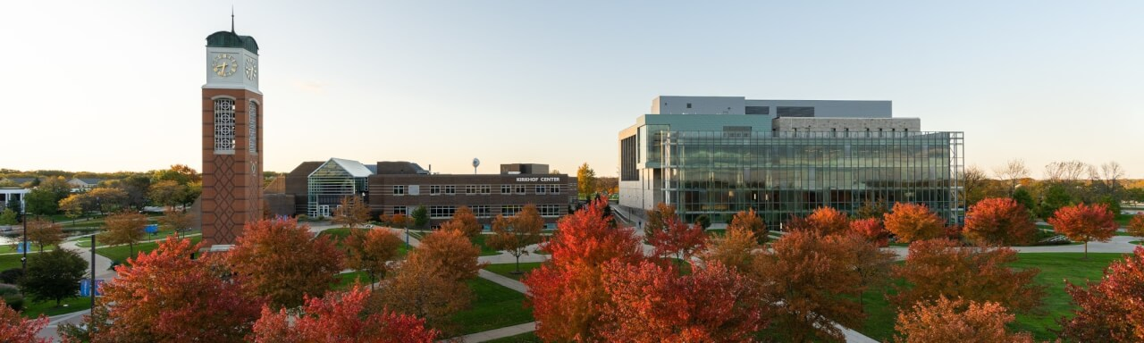 Kirkhof Center and Clocktower with red fall trees